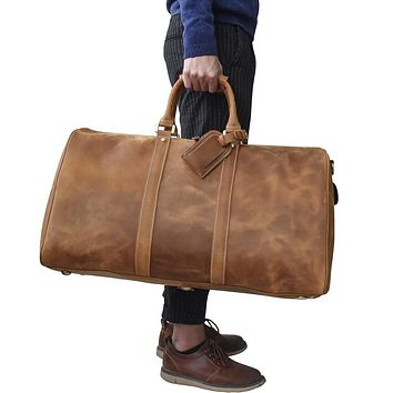 Big capacity genuine leather Man travel bag durable crazy horse leather travel duffel Real leather large shoulder weekend bag