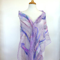 Beautiful Fashion Scarf Lavender Silk Cotton and Wool Felt Scarves and Wraps