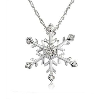 Diamond Snowflake Pendant-Necklace in Sterling Silver  (18 inch Chain)