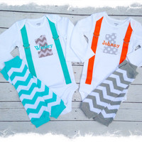 TWIN BOYS 1st BIRTHDAY Outfit-Boys Chevron Birthday Set with Crawlers-Cake Smash-1st Birthday Matching Twin Outfit