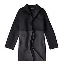 Petite High Collar Knee-Length Coat in Brushed Wool Doubleface