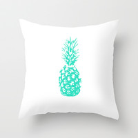 Blue Pinneapple  Throw Pillow by Ashley Hillman