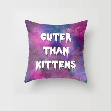 Throw Pillow Cover Cuter than Kittens Cat Pastel Goth Galaxy Trippy Cute Decorative Pillow Cover Made to Order 16x16 18x18 20x20 Home Decor