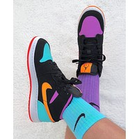 Hipgirls NIKE AIR JORDAN 1  New yin and yang color matching casual sneakers Shoes