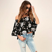 Fashion Flower Print Off Shoulder Middle Sleeve Irregular T-Shirt Tops
