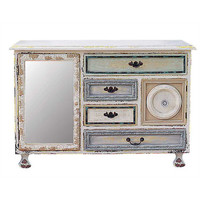 Antique Mirrored Cupboard with 4 Drawers and 2 Doors