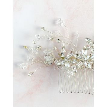 Silver hair comb - bridal fascinator - rhinestone headpiece - style 7041 - ready to ship