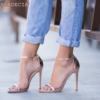 Simple easy to wear single buckle sandals concise high-heeled woman shoes ladies shoes open toe champagne thin heel sandals