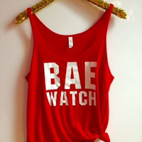 Bae Watch - Slouchy Relaxed Fit Tank - Ruffles with Love - Fashion Tee - Graphic Tee