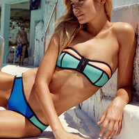 Blue Padded Strapless Swimsuit with Color Block Details