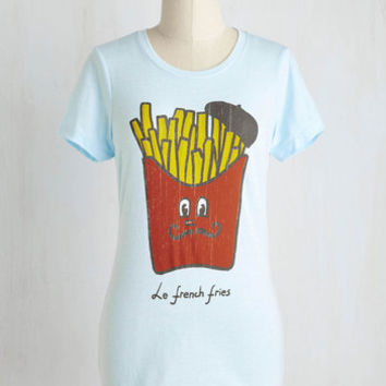 French Mid-length Short Sleeves Friends in Fry Places Tee