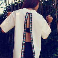 Bohemian blouse top open back slit shirt embroidered floral trim Boho Hippie Mexican style OOAK Upcycled clothing by TheBohemianDream