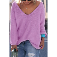 Pullover V-neck Knit Tops Hot Sale Sweater [9138776071]