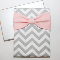 MacBook Pro or Air, Laptop Case / Sleeve - Gray Chevron with Pink Bow- Double Padded