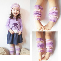 Toddler Girls Crochet Leg Warmers in Lavender Jacquard, Girls 2-3 years, MADE TO ORDER. $20.00
