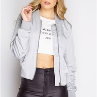 Heather Silver Lux Bomber Jacket at misspap.co.uk