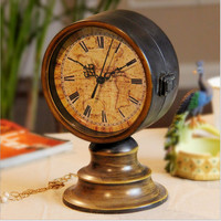 Decoration Home Living Room Vintage Iron Double Sided Clock [6282675014]