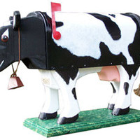 Woodendipity Style Cow Decorative Novelty Curbside Residential Post Mount Mailbox   Mailbox Works