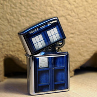 Chrome Lighter.Doctor Who TARDIS  lighter