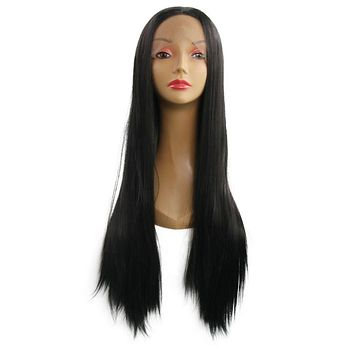 Extra Long Length Front Lace Pattern Straight Hair Wig