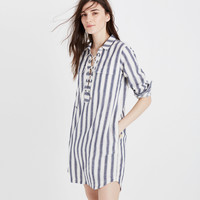 Striped Lace-up Shirtdress