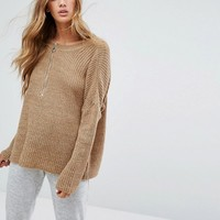 Micha Lounge Slouchy Zip Detail Jumper at asos.com