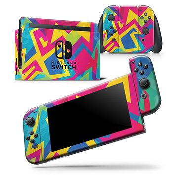 Bright Retro Color-Shapes - Skin Wrap Decal for Nintendo Switch Lite Console & Dock - 3DS XL - 2DS - Pro - DSi - Wii - Joy-Con Gaming Controller