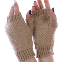 Khaki Knitted Fingerless Hand Warmers