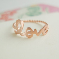 rose gold love ring with twisted ringband us size 5 - 9