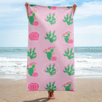 Pink Cactus Party Terry Cloth Beach Towel