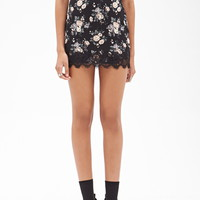 Lace-Trimmed Floral Skirt