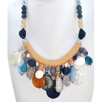 """Chico's Multi Color Bead & Shell Necklace 21"""" Long"""