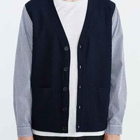 Shades Of Grey By Micah Cohen Woven Sleeve Cardigan- Navy