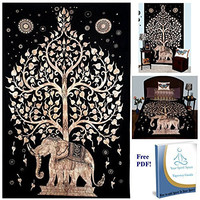 Your Spirit Space (TM) Black/Brown/Gold Good Luck Elephant Tapestry-Tree of Life. Quality Home or Dorm Hippie Wall Hanging. The Ultimate Bohemian Tapestry Decoration