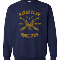 Ravenclaw Quidditch team Captain YELLOW print on NAVY color Crew neck Sweatshirt