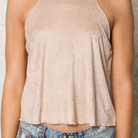 Taupe Suedette Cami Tank Top