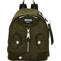 Moschino Biker Fabric Zip Backpack, Dark Green