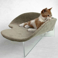Pet Bed in Taupe Faux Suede with Acrylic