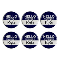 Kyle Hello My Name Is Plastic Resin Button Set of 6