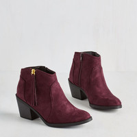 Boho Lay of the Portland Bootie in Burgundy