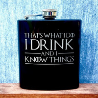 Stainless Steel Flask, Game of Thrones Quotes, 6oz (Gloss Black)