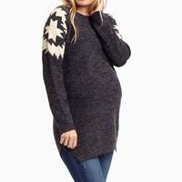 Charcoal-Printed-Shoulder-Maternity-Sweater