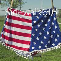 American Flag Knit Pom Shorts