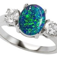 Star K 9x7mm Oval Simulated Blue Opal Ring Size 6