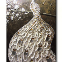 CUSTOM Abstract Peacock Painting White Silver Gold Textured Cherry Blossoms MADE TO ORDER