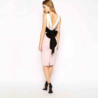 Pink And Cream Bow Back Dress