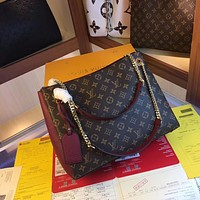 LV Louis Vuitton Women's Leather Shoulder Bag Satchel Tote Bags Crossbody 37*26*15CM