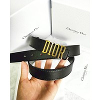 Dior Tide brand men's and women's simple and simple smooth buckle belt black