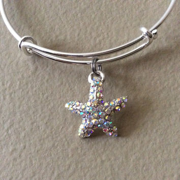 Dazzling Starfish Rhinestone Crystal Charm Bangle Expandable Bracelet Adjustable Silver Wire Bangle Trendy Meaningful Inspirational