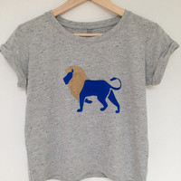Lion Tshirt - fairly traded, hand painted, rolled sleeves